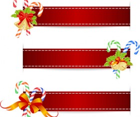 Christmas baubles with red banners vector