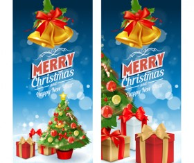 Christmas bell with gift and xmas tree banners vector 01