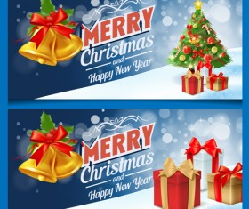 Christmas bell with gift and xmas tree banners vector 02