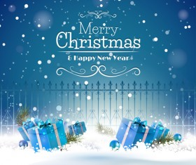 Christmas blue gifts with fence vector background