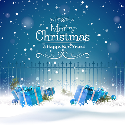 christmas blue gifts with fence vector background - Christmas Blue