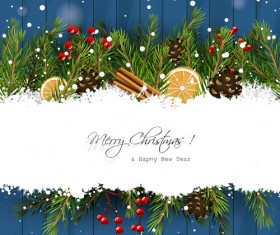 Christmas branches with woodern background vector