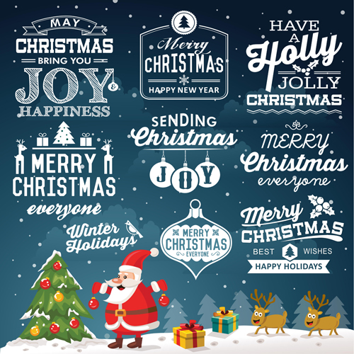 Christmas calligraphy labels with background vector