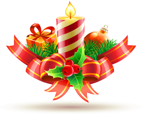 Christmas candle with baubles vectors 03 - Vector Christmas free ...