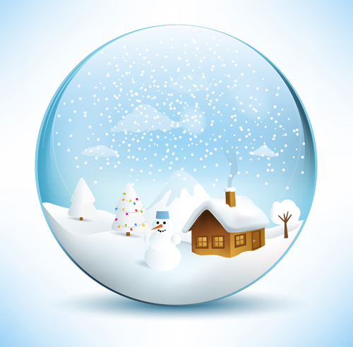 Christmas crystal ball with winter vector free download