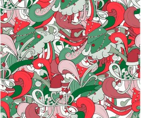 Christmas elements with doodle seamless pattern vector 11