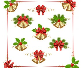 Christmas frame with bells and holly berry vector