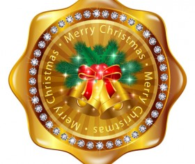 Christmas golden badges with bell vector