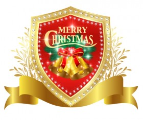 Christmas golden shield with ribbon vector 01