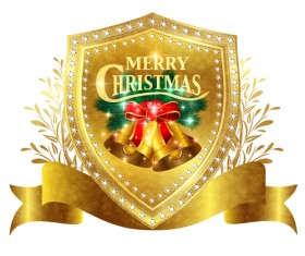 Christmas golden shield with ribbon vector 02