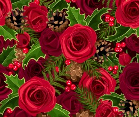 Christmas holly berries and fir-cone with rose seamless pattern vector