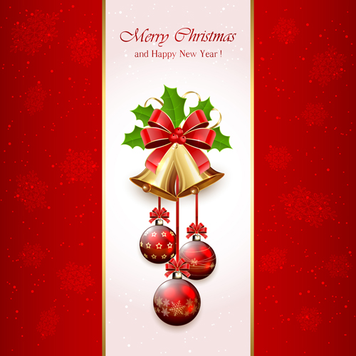 Christmas holly berry with bells vector background 01