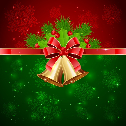 Christmas holly berry with bells vector background 02