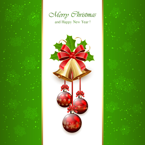 Christmas holly berry with bells vector background 08