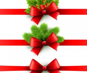 Christmas holly with red bow banners vector