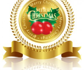 Christmas labels with diamonds and laurel wreath vectors