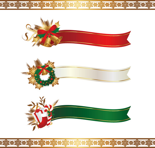 Christmas ribbon banners with snowflake borders vector