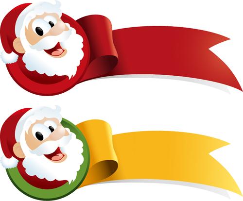 Christmas santa with ribbon vector