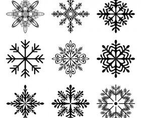 Christmas snowflake icons set vector 01