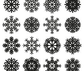 Christmas snowflake icons set vector 02