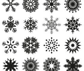 Christmas snowflake icons set vector 03