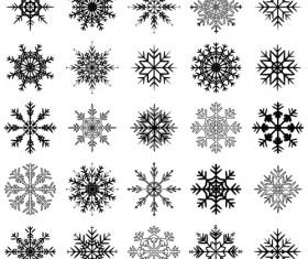 Christmas snowflake icons set vector 04