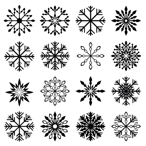 Christmas snowflake icons set vector 05