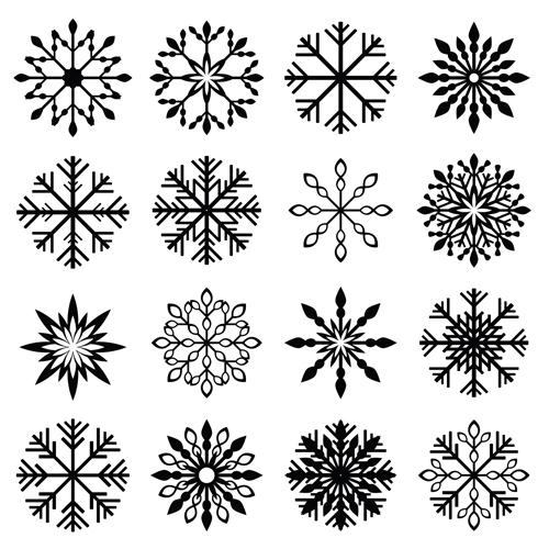Christmas snowflake icons set vector 05