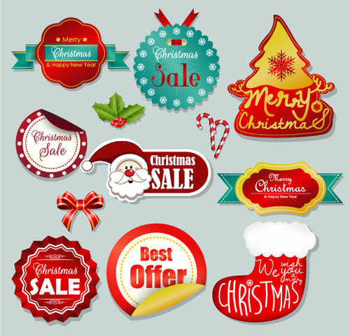 Christmas sticker with labels and badge vector set 01