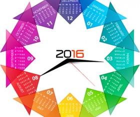 Circle 2016 calendars colorful vector