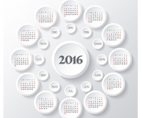 Circle calendars 2016 white vector