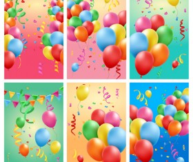 Colored balloons with birthday background graphics vector 02