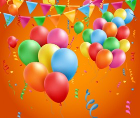 Colored balloons with birthday background graphics vector 03