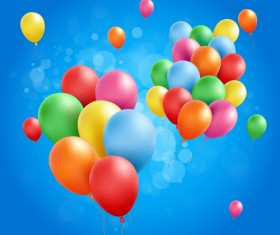 Colored balloons with birthday background graphics vector 05