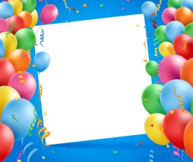 Colored balloons with birthday background graphics vector 06