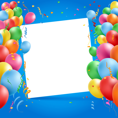 Colored Balloons With Birthday Background Graphics Vector