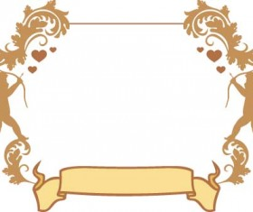 Cupid and valentine frame vector material 07