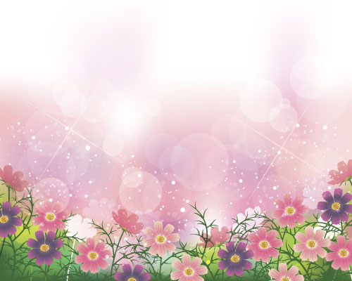 cute flower with halation background vector 01 vector