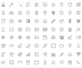 Cute life little icons set