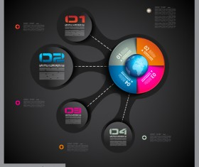 Dark style infographics business vector 25
