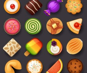 Delicious dessert circle icons set