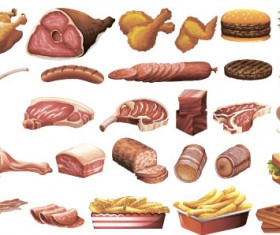 Different meats vector set