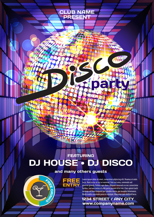 disco party poster vector material 01