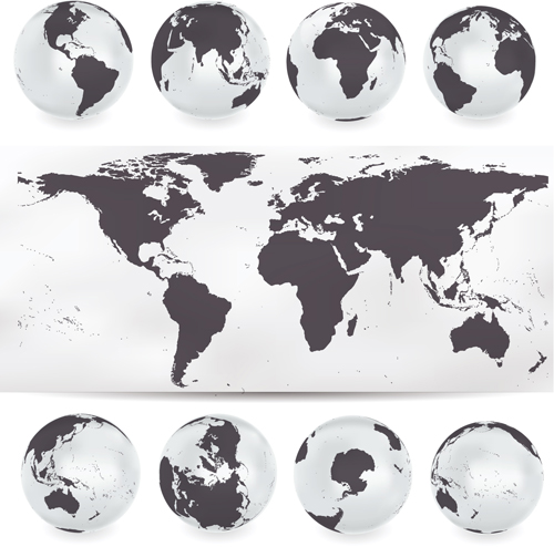 Earth map vector earth with world map vector material 04 free download gumiabroncs Images