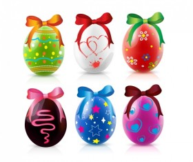 Easte colored eggs with bow vector