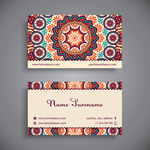 Ethnic pattern with business cards vector 01