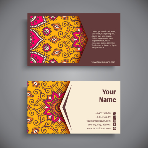 Ethnic Pattern With Business Cards Vector 03