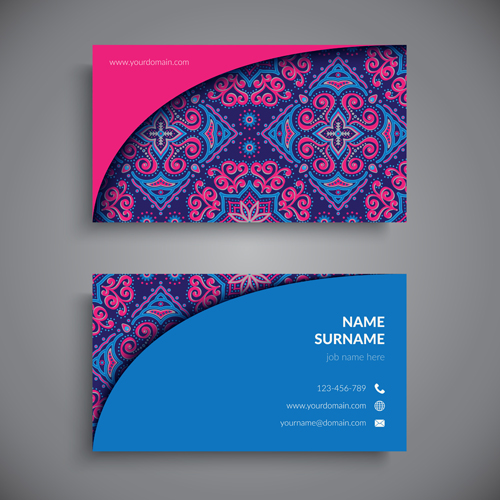 Ethnic Pattern With Business Cards Vector 04