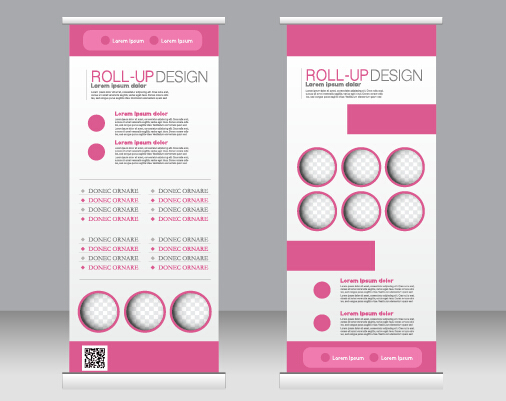 Exhibition advertising vertical banner vectors set 16