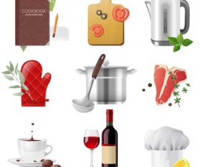 Exquisite kitchen supplies with notebook vector